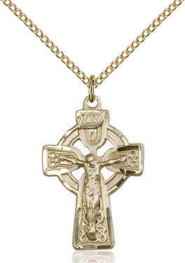 "GF Celtic Crucifix / 18"" Curb Chain"