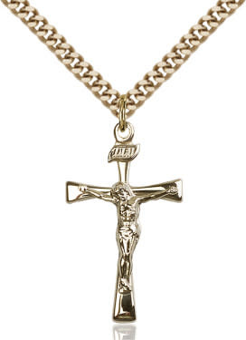 "GF Maltese Crucifix Polished / 24"" Curb Chain"