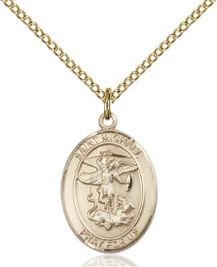 "GF St. Michael Oval Medal / 24"" Curb Chain"