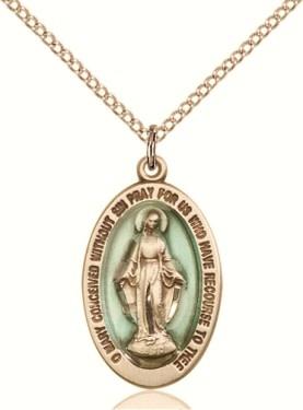 """GF Blue Miraculous Medal / 24"""" Curb Chain"""