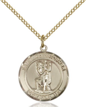 "GF St. Christopher Round Medal / 18"" Curb Chain"