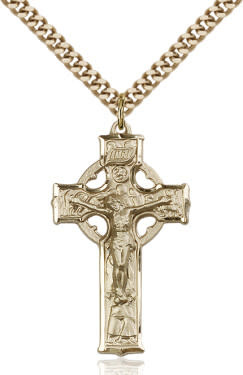 "GF Celtic Crucifix / 24"" Curb Chain"