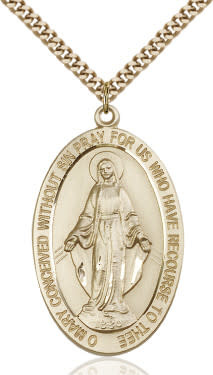 "GF Large Miraculous Oval Medal/ 24"" Curb Chain"