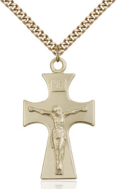 "GF Celtic Crucifix Polished / 18"" Curb Chain"
