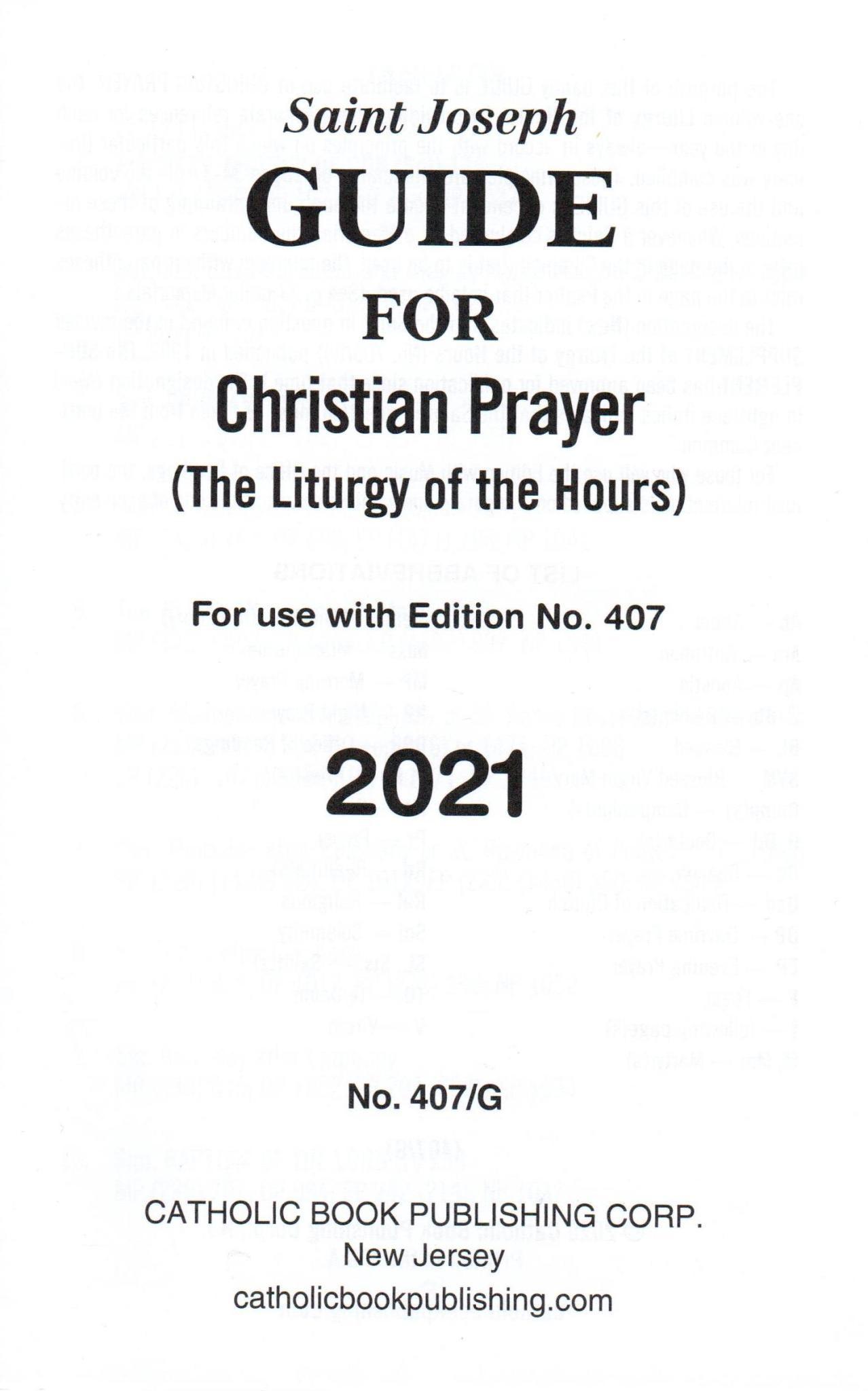 Saint Joseph Guide for Christian Prayer Large Print - 2021
