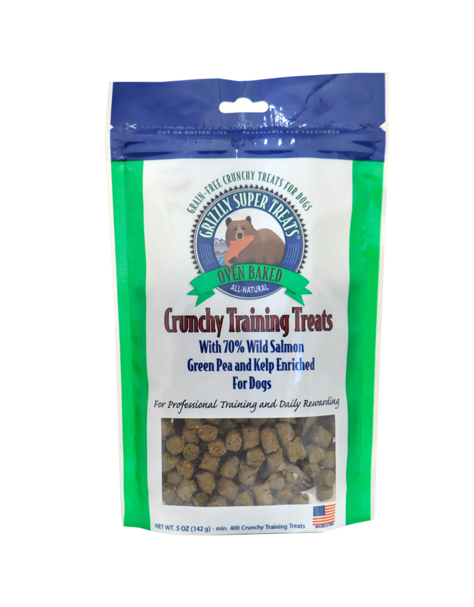 Grizzly Pet Products Grizzly Dog Green Pea and Kelp Salmon Crunchy Training Treat 5oz