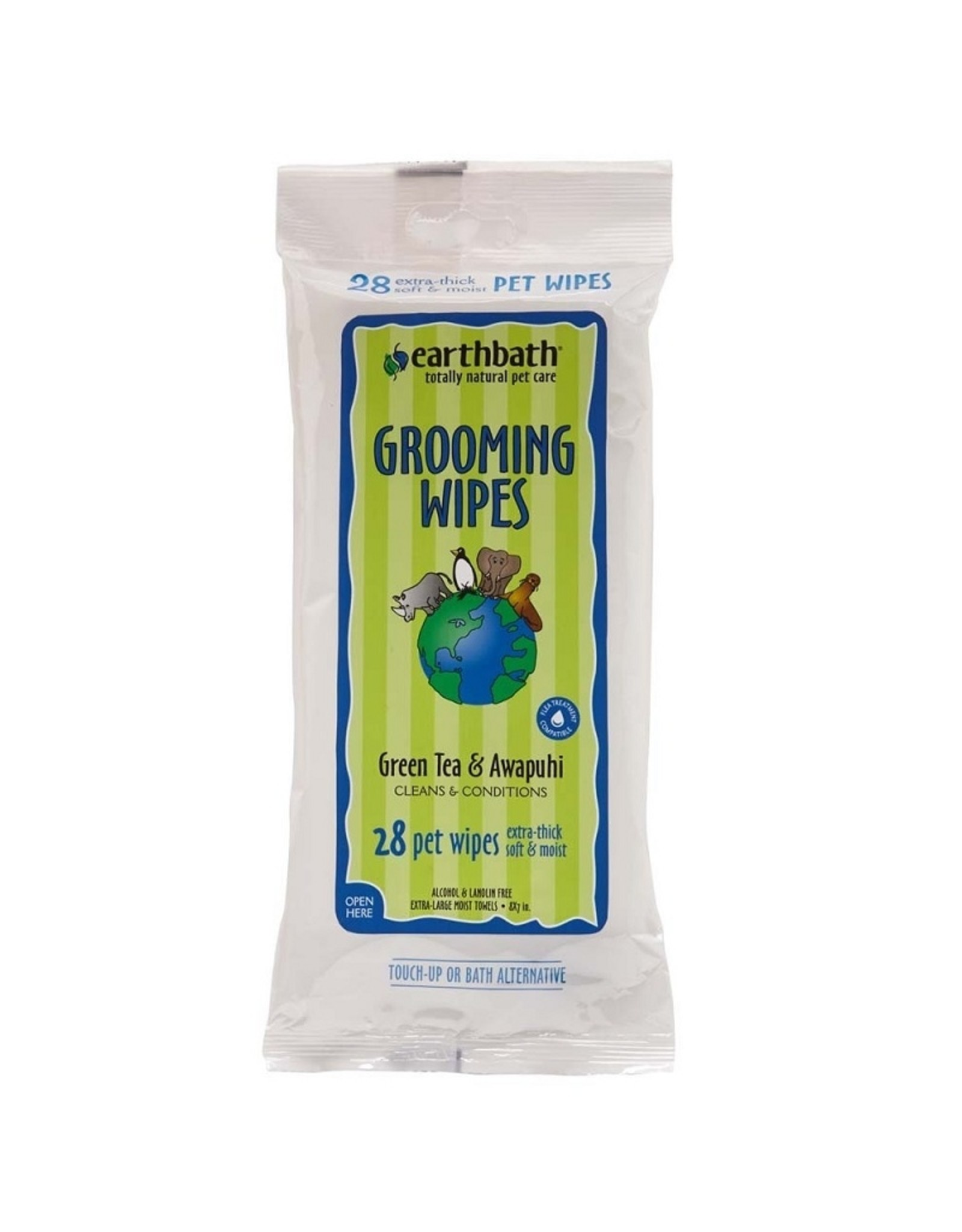 Earthbath Earthbath Grooming Wipes Green Tea Awapuhi 28ct