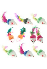 Go Cat Go Cat Fur Mouse with Feather Tail