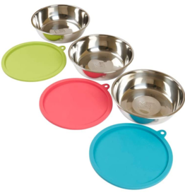 Messy Mutts Messy Mutts Bowls with Lids XLarge Set of 3