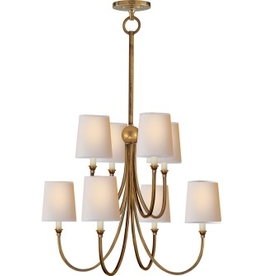 Visual Comfort Reed Large Chandelier in Hand Rubbed Brass with Natural Paper Shade - extra long chain