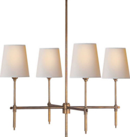 Visual Comfort Small Bryant Chandelier in Hand Rubbed Brass with Paper Shades