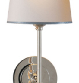 Visual Comfort Bryant Sconce Polished Nickel Natural Paper Shade with Silver Tape