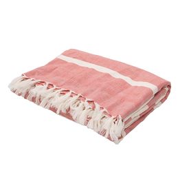 Jaipur Red Stripe Essentials Throw Wool and Cotton