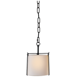 Visual Comfort Small Aspen Hanging Shade in Black Rust with Natural Paper Shade