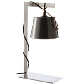 Lighting VC Caravane Desk Lamp in Polished Nickel with black ceramic shade