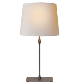 Visual Comfort VC Dauphine Table Lamp in Aged Iron with Natural Paper Shade