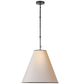 Visual Comfort Goodman Pendant Light in Bronze with Paper Shade
