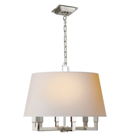 Visual Comfort VC Square Tube Hanging Shade in Polished Nickel with Natural Paper Shade
