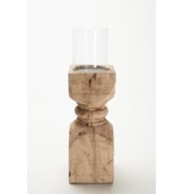 Pine Center Wooden Pillar Candle Holder-Tall