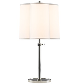 Visual Comfort Scallop Table Lamp SS W/ SIlk