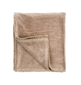 Indaba Taupe Velvet Blanket Stitch Throw