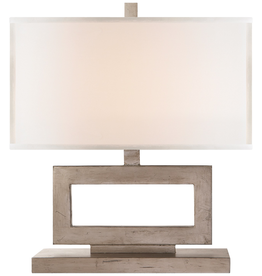 Visual Comfort Mod Low Table Lamp in Burnished Silver Leaf