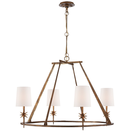 Visual Comfort Etoile Chandeleir in Gilded Iron w/Natural Paper Shades