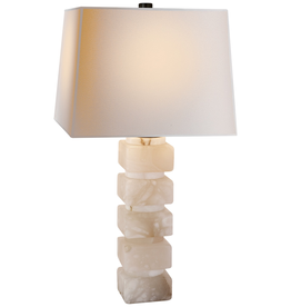 Visual Comfort Square Stacked Table Lamp in Alabaster with Natural Paper Shade