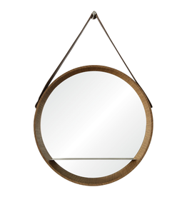 renwill Lenola Walnut Veneer Mirror w/Nickel Shelf