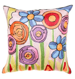 Cashmere Crafts Flowers Cushion