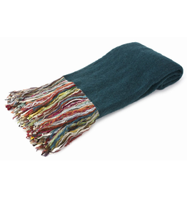 Merben Teal Mohair Fringe Throw