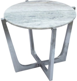 renwill Dayton  Aluminium Accent Table - Marble, Brushed Chrome Finish