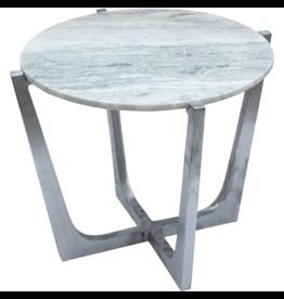 renwill Dayton  Aluminium Accent Table - Marble, Brushed Chrome Finish