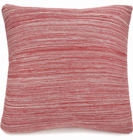"Merben Red Marled Cotton Pillow 20"" X 20"" with Feather Filler"
