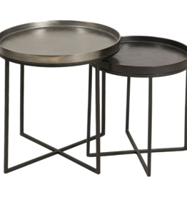 renwill Conerick Table Large - Aluminum And Iron With Bronze- Matte Black Powder Coated Finish Stand