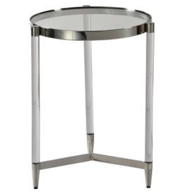 renwill Shira  Stainless Steel - Acrylic - Glass Side Table, Chrome Finish