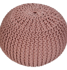 renwill Emory Knitted Peach Pouf - Shell: 70% Cotton, 30% Mix - Filler:100% Polystyrene Beads