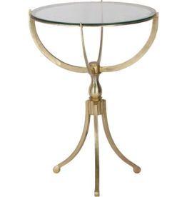 renwill Gendey Iron With Antique Brass Finish - Clear Glass Top