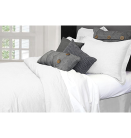 Alamode Morgan Linen Duvet Cover King - Bleached White