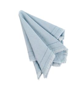 Indaba Frayed Edge Napkin, LIght Blue, Set of 6