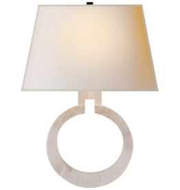 Visual Comfort VC Ring Form Large Wall Sconce in Alabaster with Natural Paper Shade