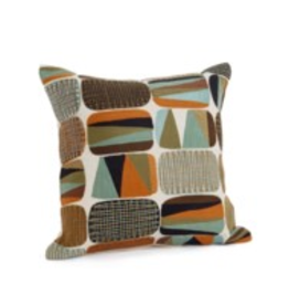 Bonavista Sarben Embroidered Cushion<br /> Green and Orange 17x17