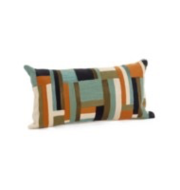 Bonavista Lacona Embroidered Cushion<br /> Green and Orange  12x22