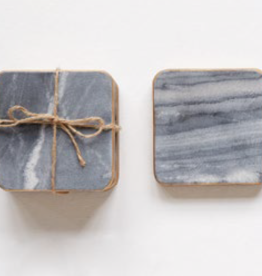 "David Youngson giftware Square marble Coasters 4"" Set of 4"