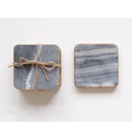 """David Youngson giftware Square marble Coasters 4"""" Set of 4"""