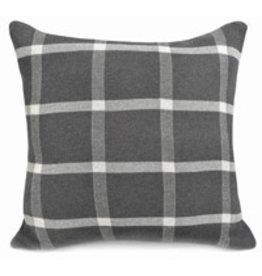 "Merben Charcoal plaid cotton pillow 20"" x 20"""