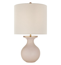 Visual Comfort Albie Small Desk Lamp in Blush with Cream Linen Shade