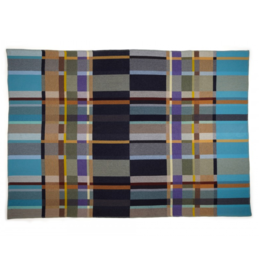 Wallace Sewell River Block Brown Blue Lambswool Throw