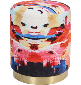 renwill Jenna Stool Printed - Artwork Ksenia Sizaya - Cotton Velvet