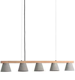 renwill Zane Linear Wood and Concrete Pendant